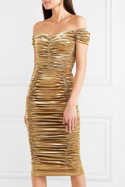 Dolce & Gabbana off-the-shoulder ruched silk-blend lurex midi dress in gold - Extra special events call for a head-turning entrance,...