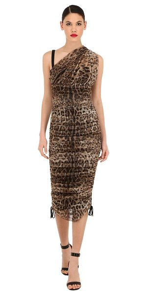 Dolce & Gabbana One shoulder stretch tulle midi dress in leopard