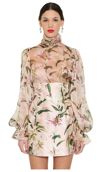 Dolce & Gabbana Printed high collar sheer organza blouse in pink,multi