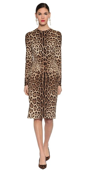 Dolce & Gabbana Printed stretch charmeuse midi dress in leopard