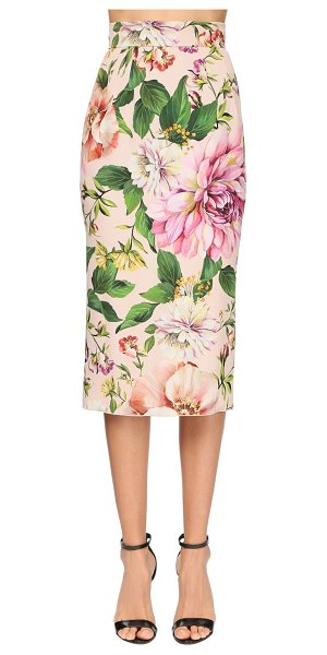 Dolce & Gabbana Printed stretch charmeuse pencil skirt in pink