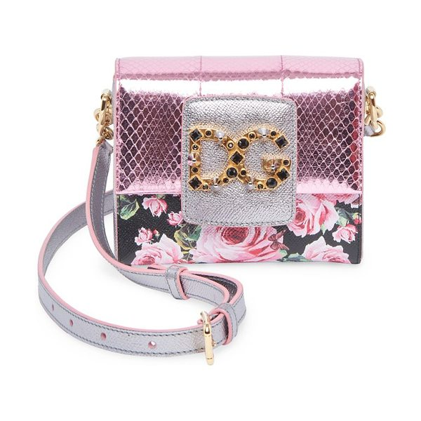 DOLCE & GABBANA rose-print mini crossbody bag - Mini crossbody bag with metallic finish and floral...