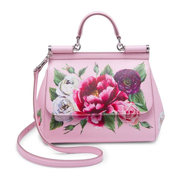 Dolce & Gabbana roseto dauphine small sicily handbag in pink - Brilliant florals adorn timeless, structured bag. Top...