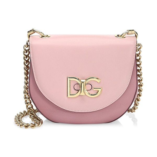 DOLCE & GABBANA saddle bag in pink - Saddle bag with a curved design. Chain Shoulder strap....
