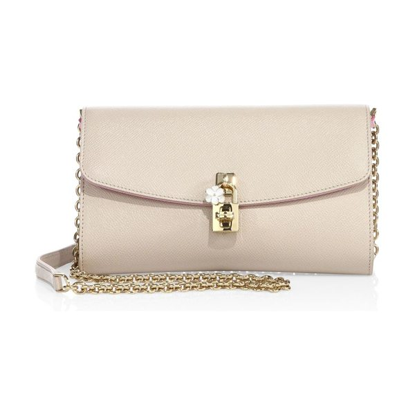 Dolce & Gabbana saffiano leather chain clutch in nudepink - Saffiano leather flap style with polished hardware....