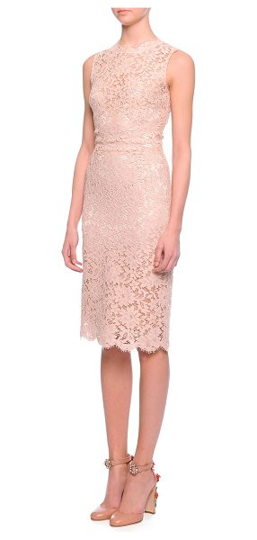 Dolce & Gabbana Scalloped Floral Lace Sheath Dress in lt rose pink - Dolce & Gabbana floral lace dress with underlay. Approx....