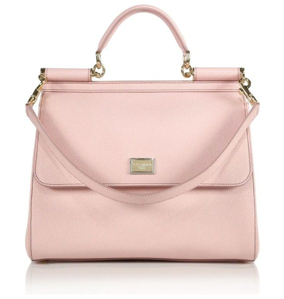 Dolce & Gabbana Large miss sicily leather top-handle satchel in lightpink - Simple yet sophisticated, this top-handle Sicily is cut...