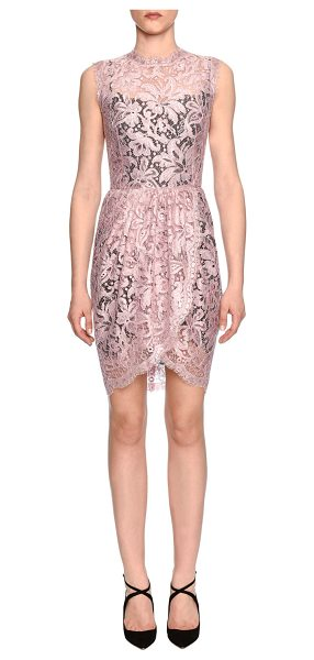 Dolce & Gabbana Sleeveless Floral-Lace Sheath Dress in rose pink & black - Dolce & Gabbana floral-lace dress. Round neckline....