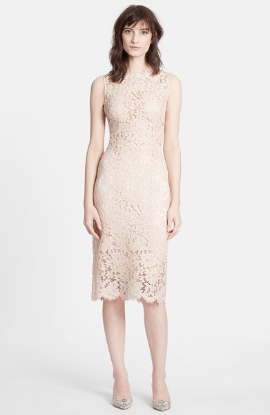 Dolce & Gabbana sleeveless lace sheath dress in pale rose - Romantic, timeless and simply elegant lace defines this...