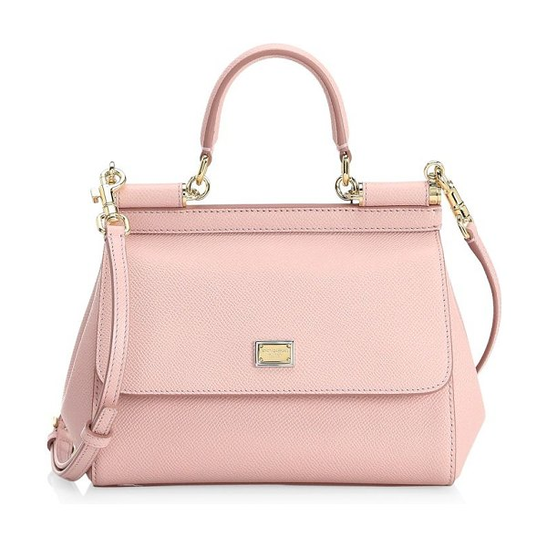 Dolce & Gabbana small sicily leather top handle satchel in pink - Simple yet sophisticated, this top-handle Miss Sicily is...
