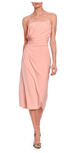 Dolce & Gabbana Strapless Ruched Midi Dress in pink