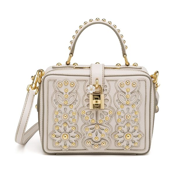 DOLCE & GABBANA Studded laser-cut top-handle bag - Laser-cut leather is stitched in a feminine floral...
