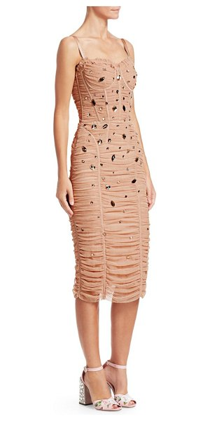 Dolce & Gabbana tulle crystal embellished dress in nude - Layers of sheer tulle are gathered and ruched, forming...