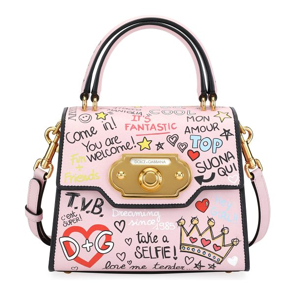 Dolce & Gabbana Welcome Graffiti Small Shoulder Bag in pink pattern - Dolce & Gabbana leather shoulder bag in allover graffiti...