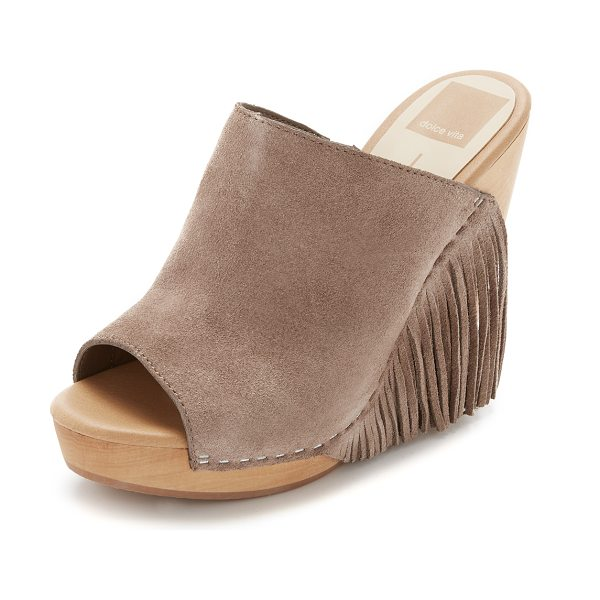 Dolce Vita Dolce Vita Cai Wedges in taupe - Fringed suede, peep toe Dolce Vita wedges with a retro...