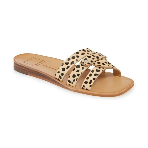 Dolce Vita cait slide sandal in brown - Polished studs highlight the smooth straps of this...