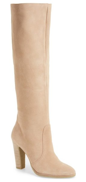 Dolce Vita celine knee-high boot in blush suede - Touchably soft suede textures a wardrobe-staple...