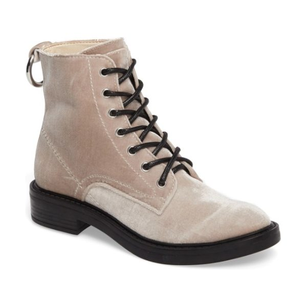Dolce Vita combat boot in mink velvet - A polished ring serves as the pull-on tab of a...