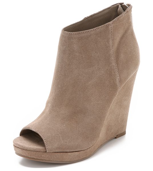 Dolce Vita Demy suede wedge booties in taupe - Plush Dolce Vita booties made from lightweight suede....