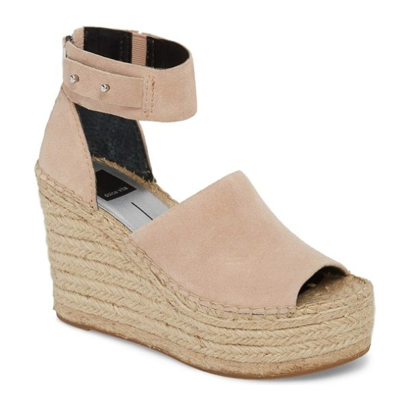 DOLCE VITA straw wedge espadrille sandal in blush - A super-chunky espadrille wedge and platform add...