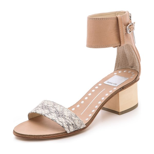 Dolce Vita Foxie low heel sandals in natural - A wide ankle cuff and snakeskin band lend easy...