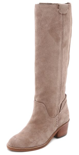 Dolce Vita Garnett suede boots in taupe - Suede Dolce Vita boots in a tall profile. Elastic gore...