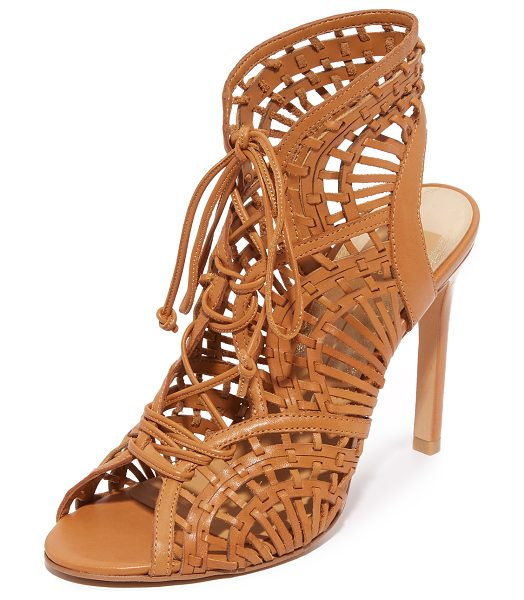 DOLCE VITA Harper sandals in caramel - Delicate straps weave through the scalloped top line of...