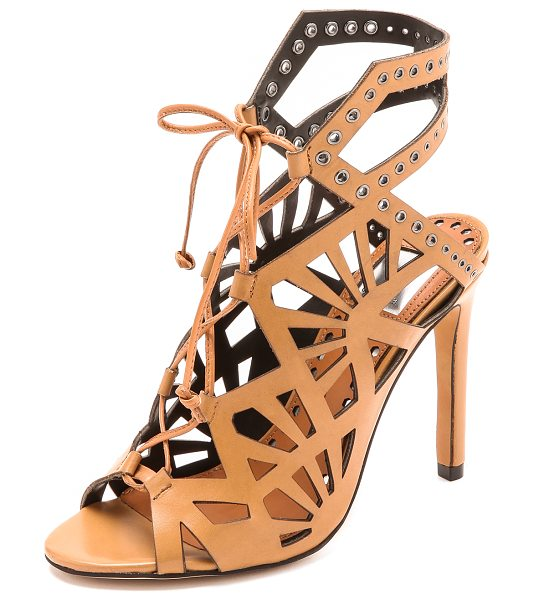 Dolce Vita Helena sandals in caramel - Cutouts and grommets lend an edgy feel to lace up Dolce...