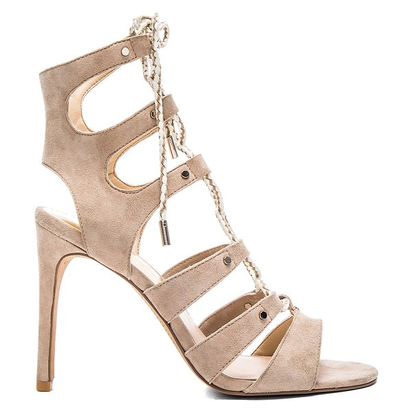 Dolce Vita Howie heel in beige - Suede upper with man made sole. Braided lace-up front...