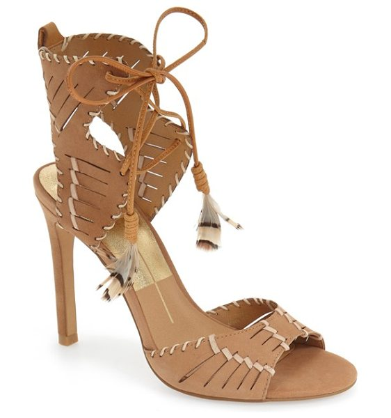 Dolce Vita hunter woven feather sandal in saddle nubuck - Contrast whipstitching and woven details distinguish a...