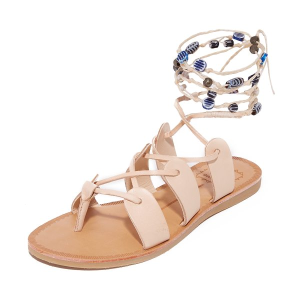Dolce Vita jalen gladiator sandals in nude - Painted beads accent the braided, wraparound ties on...