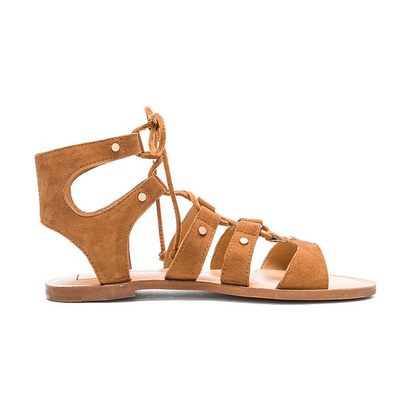 Dolce Vita Jasmyn Sandal in tan - Suede upper with man made sole. Caged cut-out detail....