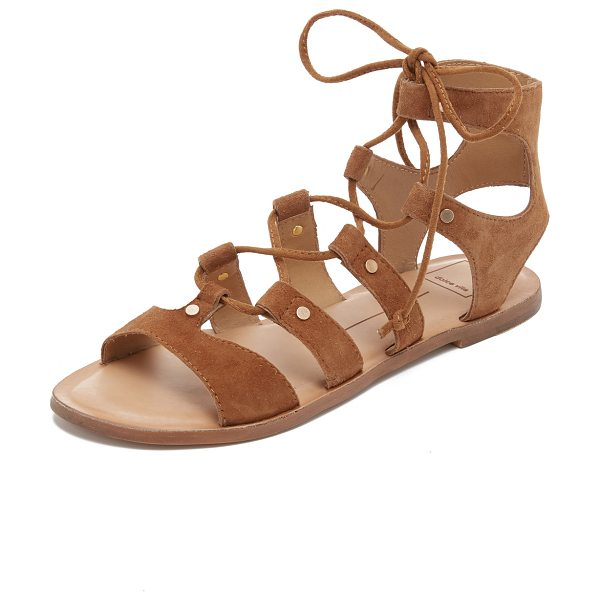 Dolce Vita Jasmyn suede gladiator sandals in dk saddle - Petite, polished studs accent the suede straps on these...