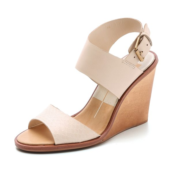 Dolce Vita Jodie wedge sandals in beige - Dolce Vita sandals made from leather and snakeskin. A...