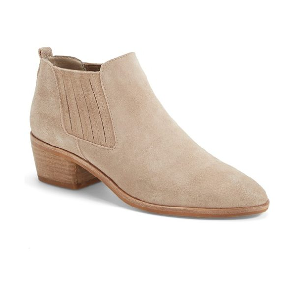 Dolce Vita kadie bootie in taupe suede - A low, pull-on shaft and covered gores make this suede...