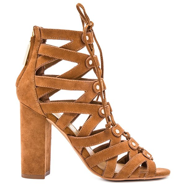 Dolce Vita Karli heel in brown - Suede upper with rubber sole. Caged cut-out detail....