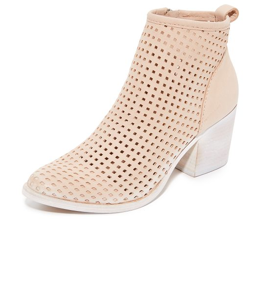 DOLCE VITA kenyon perforated booties in sand - A painted, notched heel adds unique style to these...