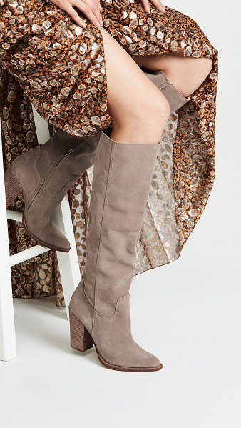 Dolce Vita kylar tall boots in dark taupe - Leather: Cowhide Chunky heel Hidden zip at side Pointed...