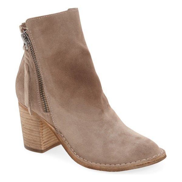 Dolce Vita 'lana' block heel bootie in dark taupe suede - Tassel-embellished side zippers and a stacked block heel...