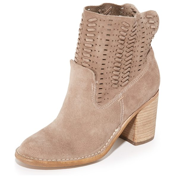 Dolce Vita landon booties in dark taupe - Whipstitched strands accent the slouchy, perforated...