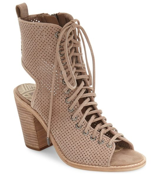 Dolce Vita lira lace-up open toe bootie in light taupe suede - Utilitarian-inspired laces weaving through gunmetal...