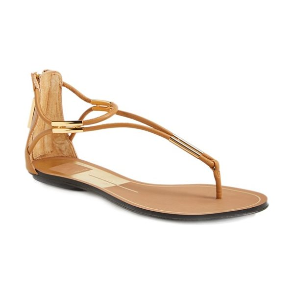 Dolce Vita marnie flat sandal in caramel - Metallic hardware gleams at the toe and ankle of an...