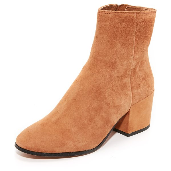 Dolce Vita maude suede booties in dark saddle - Polished Dolce Vita booties in soft suede. Exposed ankle...