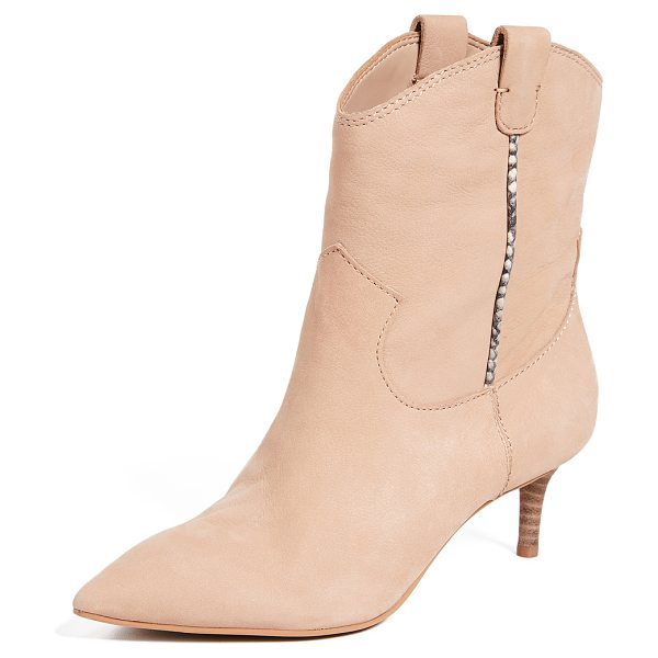 Dolce Vita reece point toe booties in blush - Leather: Cowhide Soft leather Snake-embossed trim...