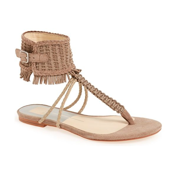 Dolce Vita regan fringe ankle cuff sandal in almond suede - A fringe-trimmed ankle cuff furthers the boho appeal of...