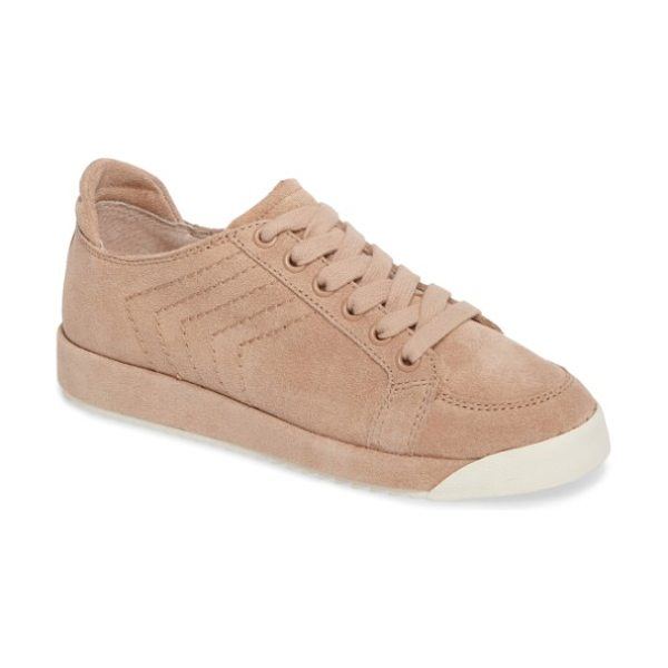 Dolce Vita sage low-top sneaker in blush suede - Stitched racing stripes angle up the sides of a pastel...