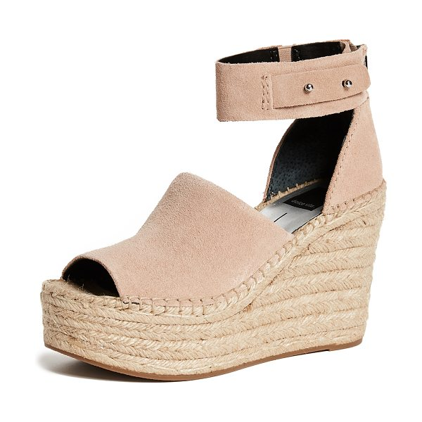 Dolce Vita straw wedge espadrilles in blush