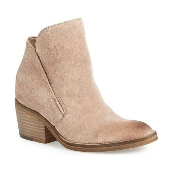 Dolce Vita teague bootie in taupe suede - A clean-lined profile and lightly distressed leather...