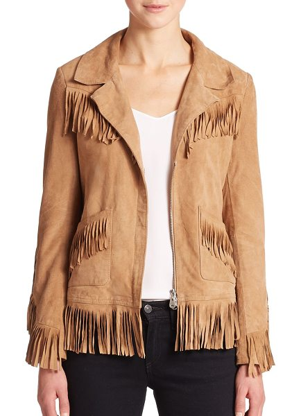 DOMA Fringe suede jacket - Supple suede trimmed in fringe detailing infuses this...