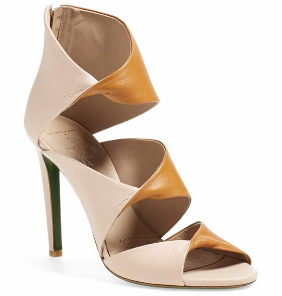 Donald & Lisa Signature ikaya sandal in tan/ rose nappa leather - Elegantly twisted straps and smooth leather composition...